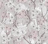 Seamless cherry blossom flowers pattern. Abstract floral pattern