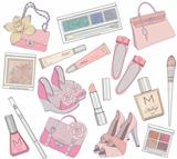 Women shoes, makeup and bags element set.