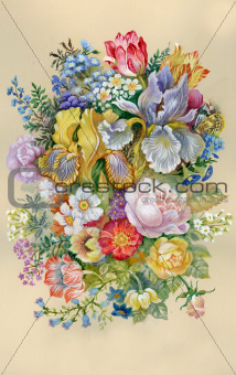 Watercolor Flower Collection: Flowers Bouquet