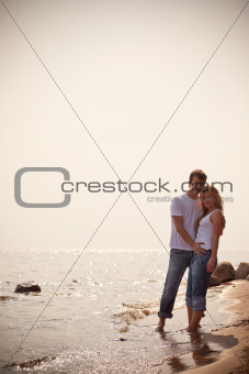 beautiful couple on a seashore
