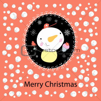 Christmas card with a snowman