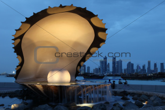 Pearl and Oyster fountain in Doha / Qatar