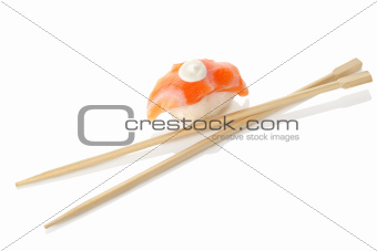 Wooden chopsticks and sushi