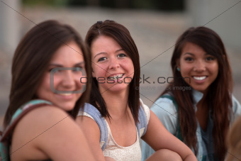 Three Pretty Teen Students