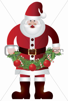 Santa Claus Holding Garland Illustration