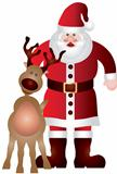 Santa Claus with Reindeer Illustration