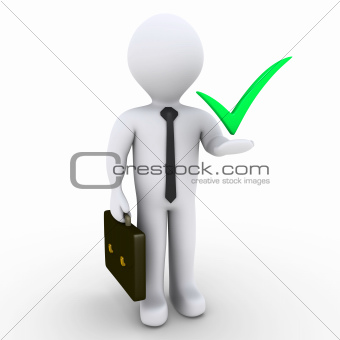 Businessman with check mark symbol