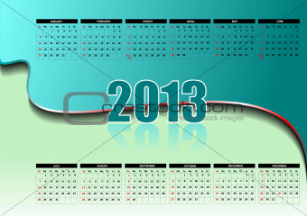 Calendar 2013 with American holidays. Months.