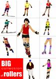 Big collection of Roller skater silhouettes on a white background