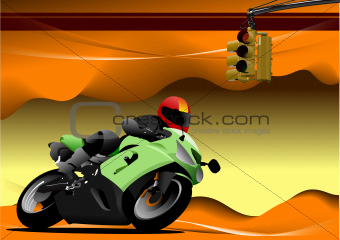 Abstract hi-tech background. Desert with motorcycle image.