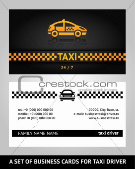 business cards taxi cab