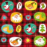 Christmas set, plaid tartan pattern background, wrapping paper