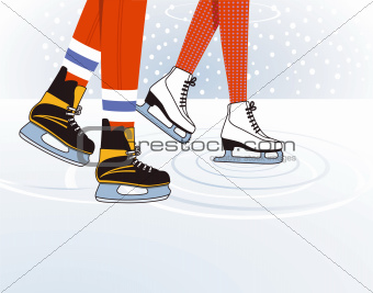 two ice skaters
