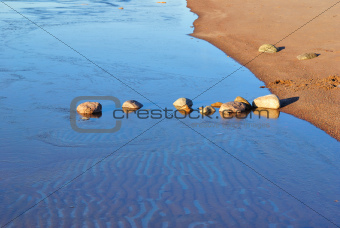Stones in the freezing water