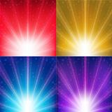 Abstract Color Vector Backgrounds With Sunburst And Stars