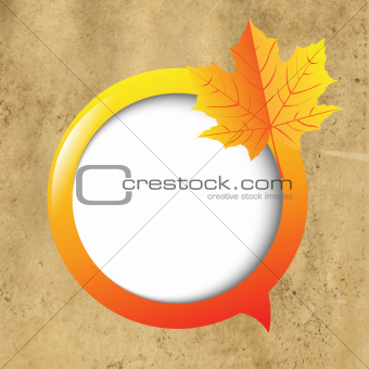 Cardboard Background With Speech Bubble And Leaf