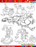 Cartoon Christmas Themes for Coloring