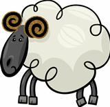 Cartoon illustration of ram or sheep
