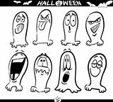 Halloween Ghosts Emoticons for Coloring