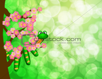 Chinese New Year Snake on Cherry Blossom Tree Bokeh