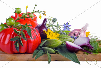 vegetables on wooden board