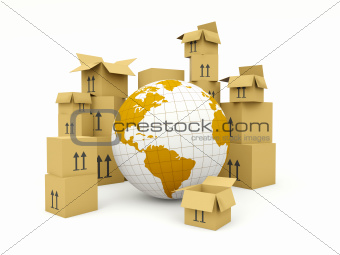 Earth with boxes isolated on white. Delivery and shipment concept