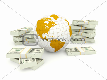 Earth with money isolated on white