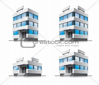 Four cartoon office vector buildings.