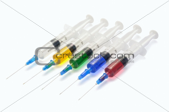 Five disposable syringe