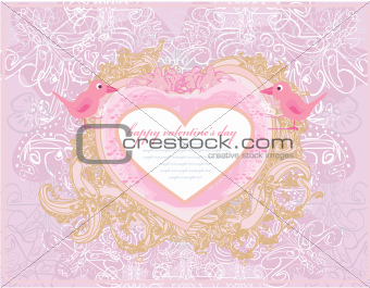 valentines day greeting card with 2 sweet love birds