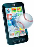 Baseball ball flying out of mobile phone