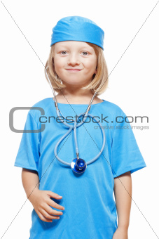 boy with long blond hair playing a doctor