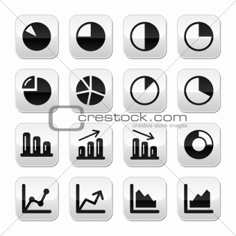 Chart graph black buttons set for infographics
