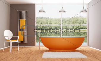 Brown and orange modern bathroom