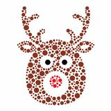Vector Reindeer Christmas Card with snow background