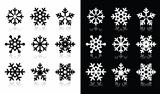Snowflakes icons with shadow on black and white background