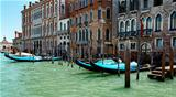 gondolas in lagoon Venice Italy Grand canal 