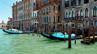 gondolas in lagoon Venice Italy Grand canal
