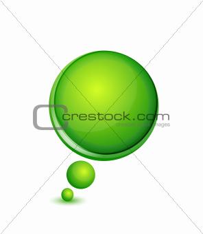 Green round glossy speech bubble