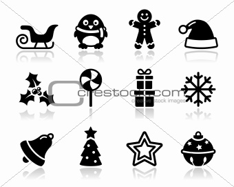 Christmas black icons with shadow set