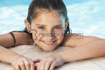 Happy Girl Child In Swimming Pool