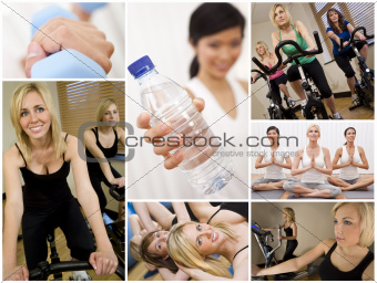 Healthy Lifestyle Montage Beautiful Women Exercising at Gym