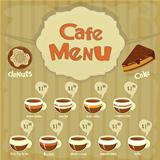 Cafe Menu Card with types of coffee