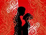 Couple on colour background
