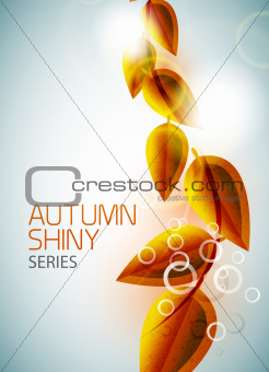 Autumn shiny flying leaves background