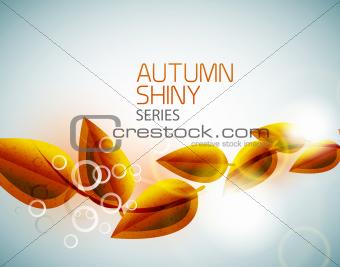 Autumn shiny flying leaves background