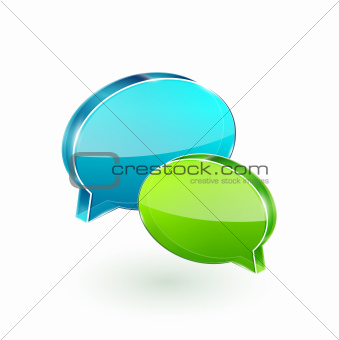 3d vector glass speech bubbles