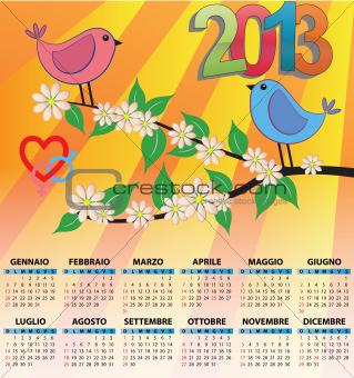 2013 bird calendar italian