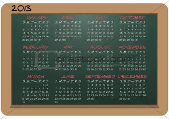 2013 calendar chalkboard