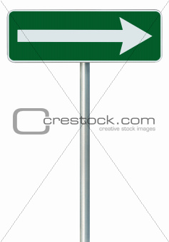 Right traffic route only direction sign turn pointer, green isol